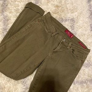 Women's olive green skinny jeans